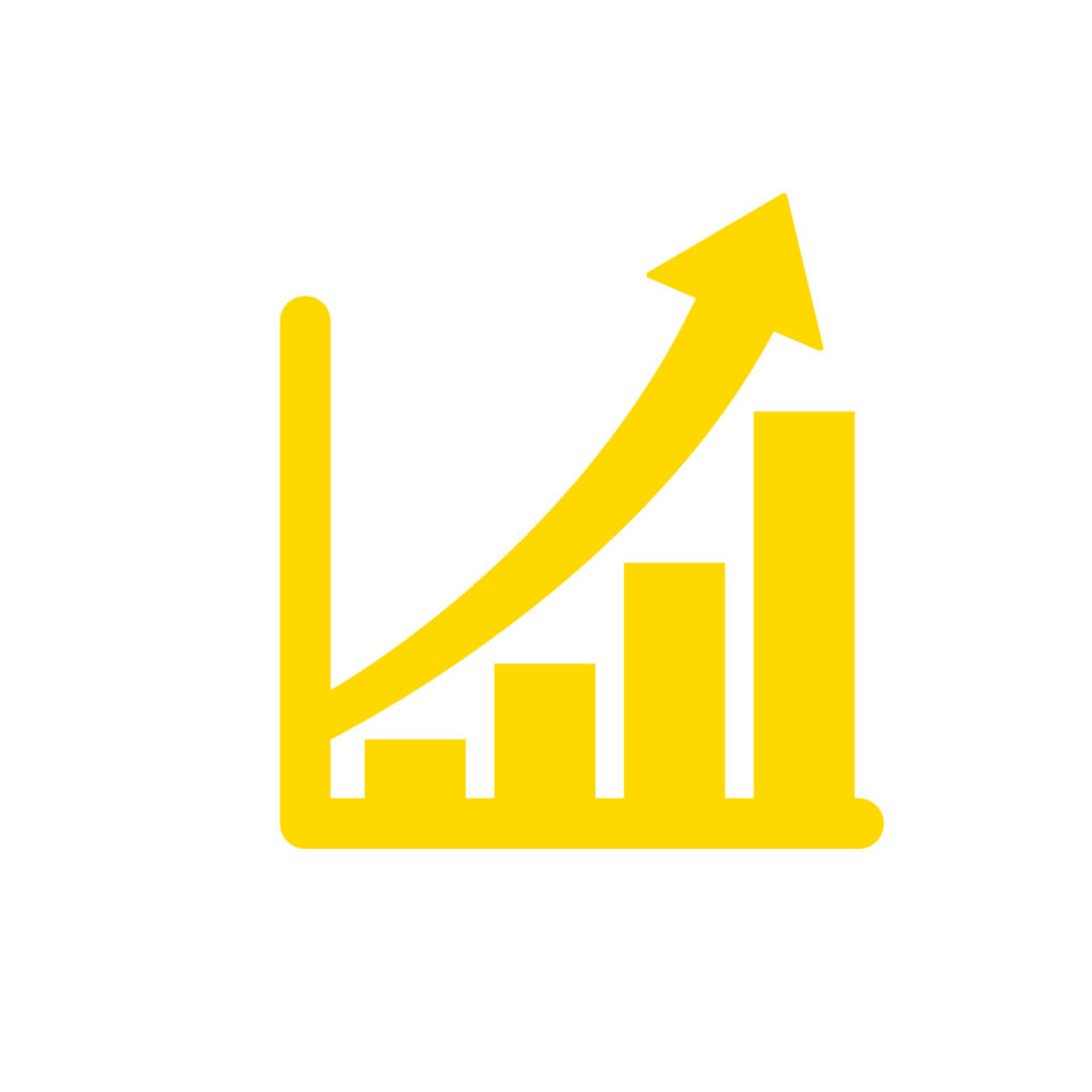業績アップ矢印黄色